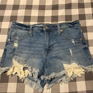 Mossimo Distressed High Rise Shorts with Lace 6/28